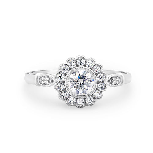 Floral diamond halo ring - Duffs Jewellers