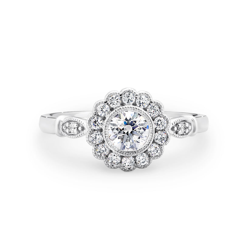 Floral diamond halo ring
