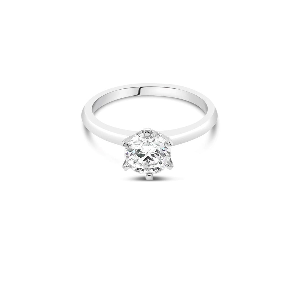 1.00ct J P1 White Gold Solitaire Diamond ring