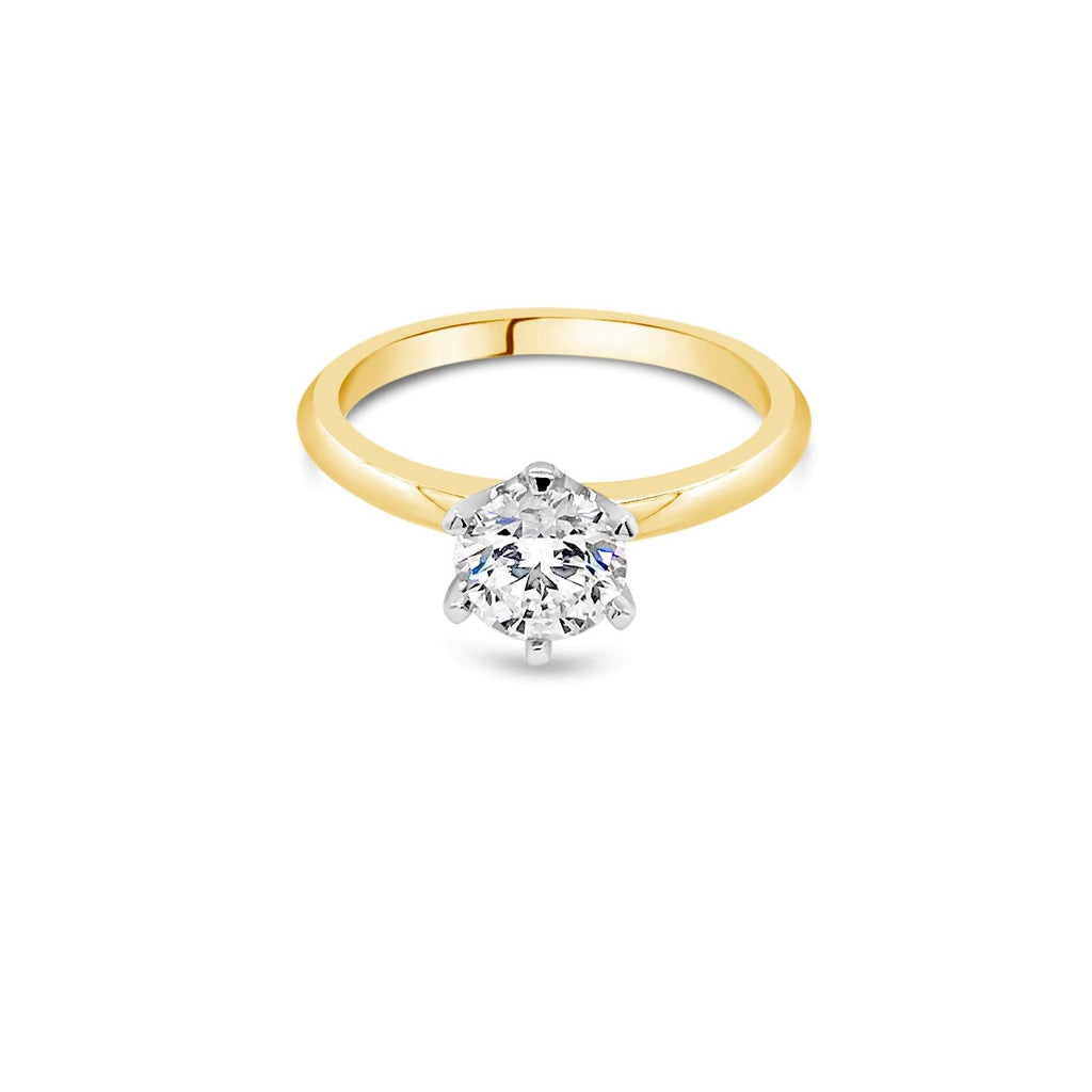 1.00ct F SI2 Yellow Gold Solitaire Diamond ring
