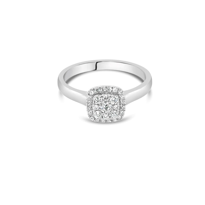 White gold cushion diamond cluster ring 0.25ct