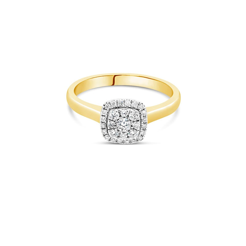 Yellow gold cushion diamond cluster ring 0.25ct