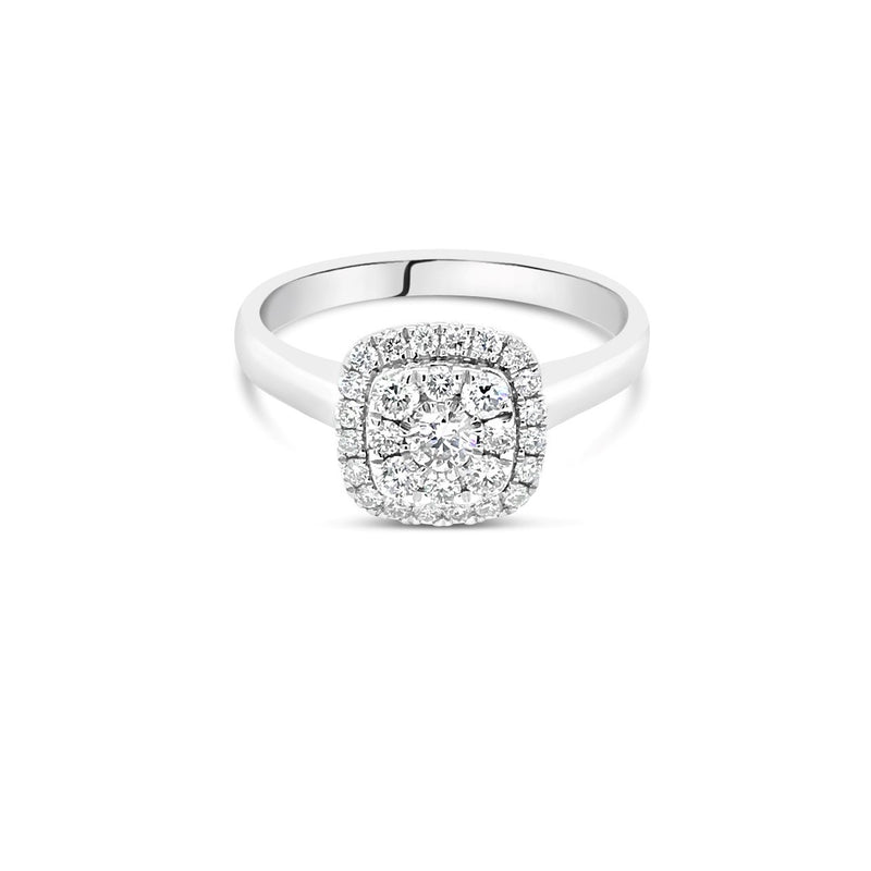 White gold cushion diamond cluster ring 0.50ct