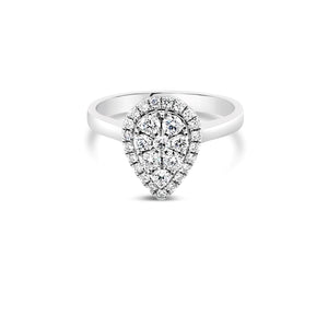 White gold pear diamond cluster ring 0.50ct