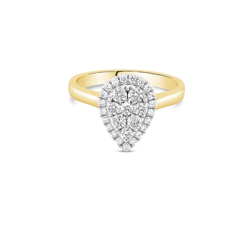 Yellow gold pear diamond cluster ring 0.50ct - Duffs Jewellers