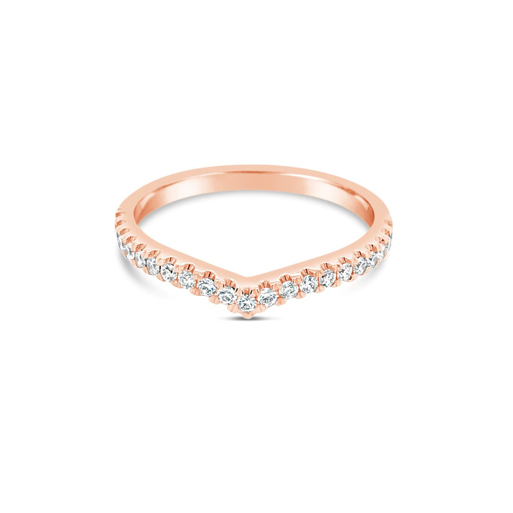 White rose diamond wishbone ring