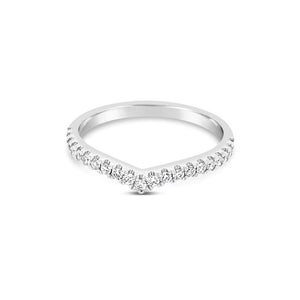 White gold diamond wishbone ring