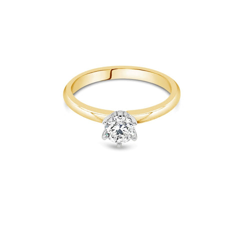 0.50ct F SI2 Yellow Gold Solitaire Diamond ring