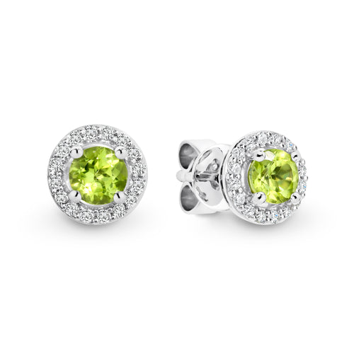 9ct white gold peridot and diamond earrings - Duffs Jewellers