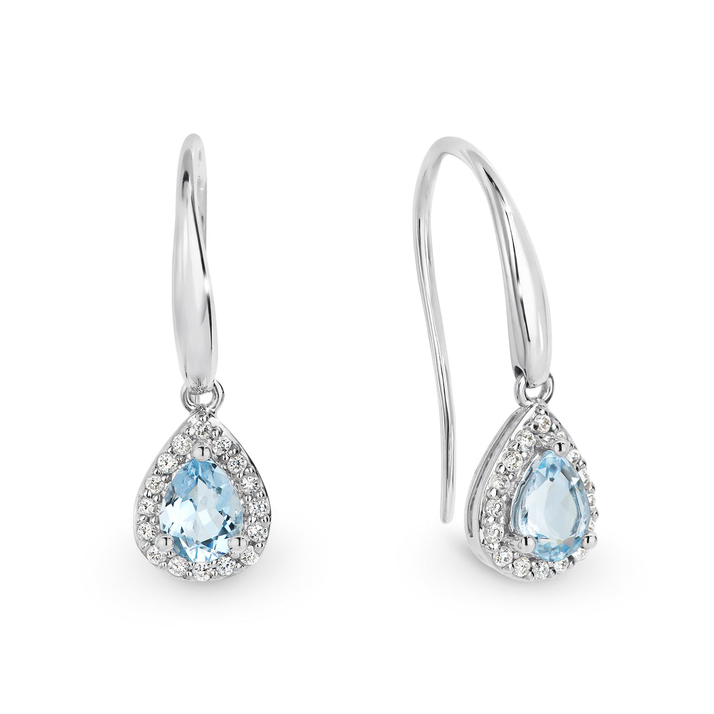 Aquamarine and Diamond Earrings - Duffs Jewellers