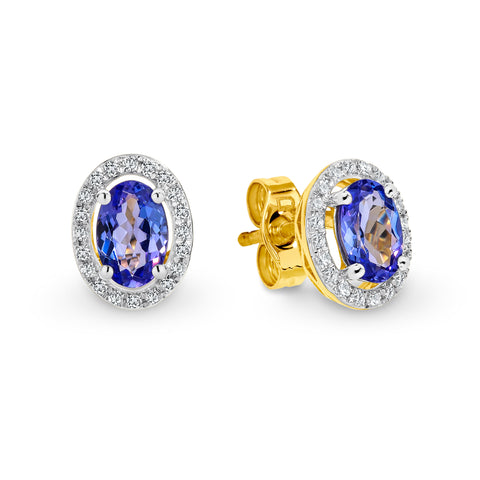 9CT Yellow Gold Tanzanite and Diamond Earrings
