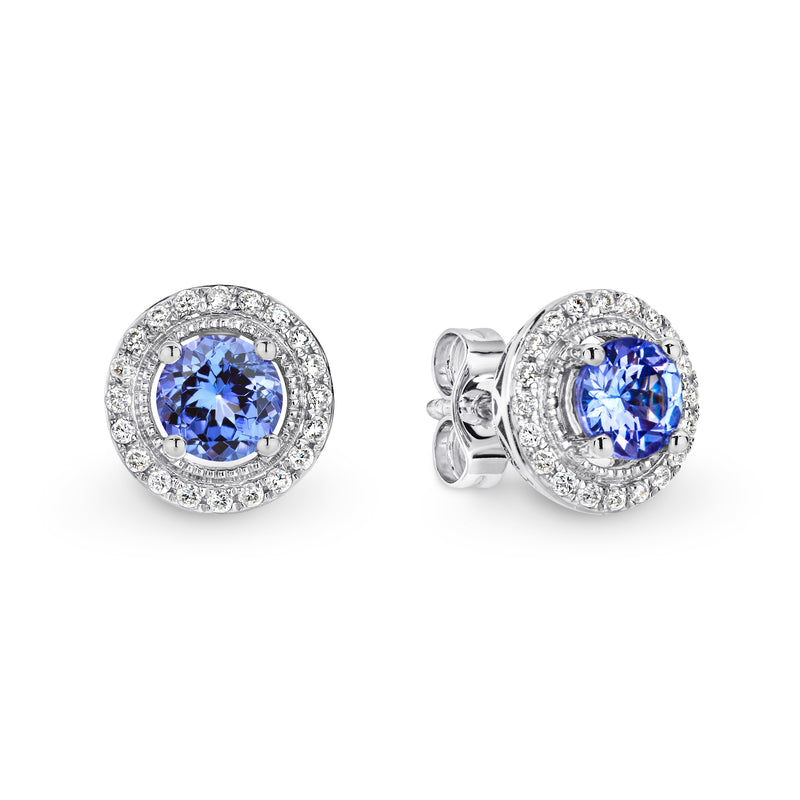 9CT White Gold Tanzanite and Diamond Earrings - Duffs Jewellers