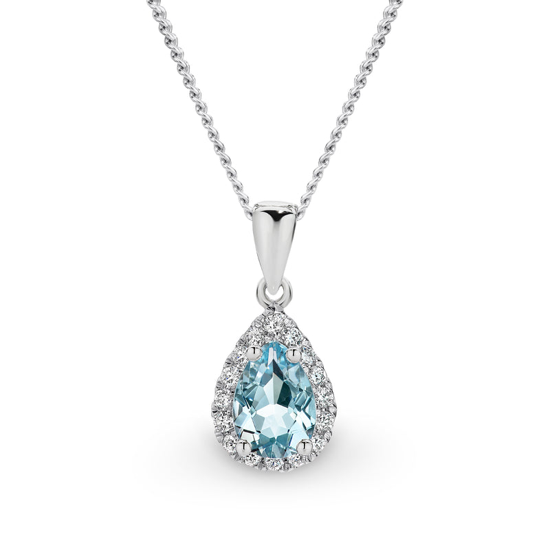 9CT White Gold Aquamarine and Diamond Pendant - Duffs Jewellers