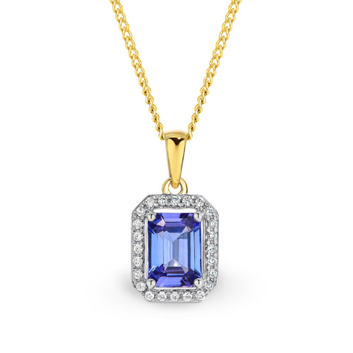 9CT Yellow Gold Tanzanite and Diamond Pendant. - Duffs Jewellers