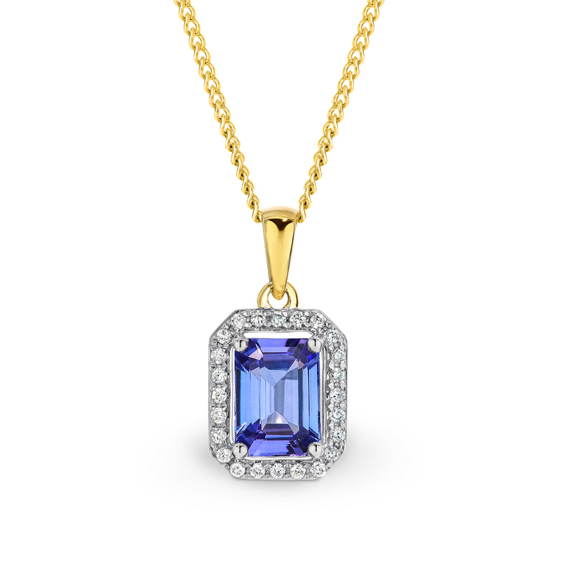 9CT Yellow Gold Tanzanite and Diamond Pendant.