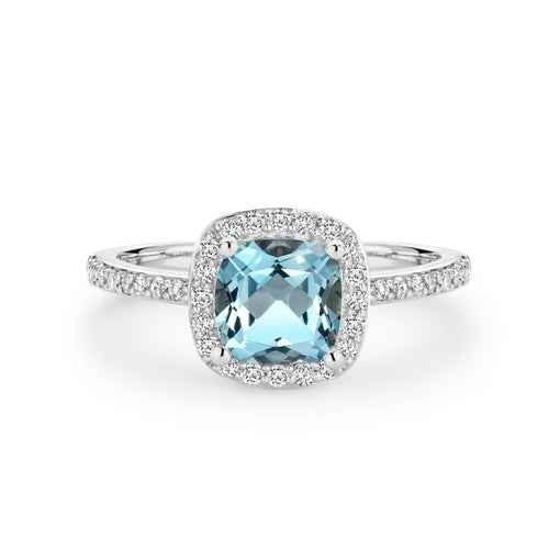 9CT White Gold Aquamarine and Diamond Ring - Duffs Jewellers