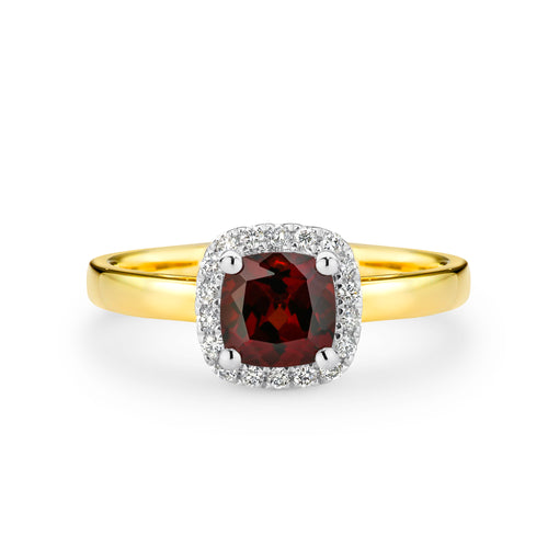 9CT Yellow Gold Garnet and Diamond Ring - Duffs Jewellers