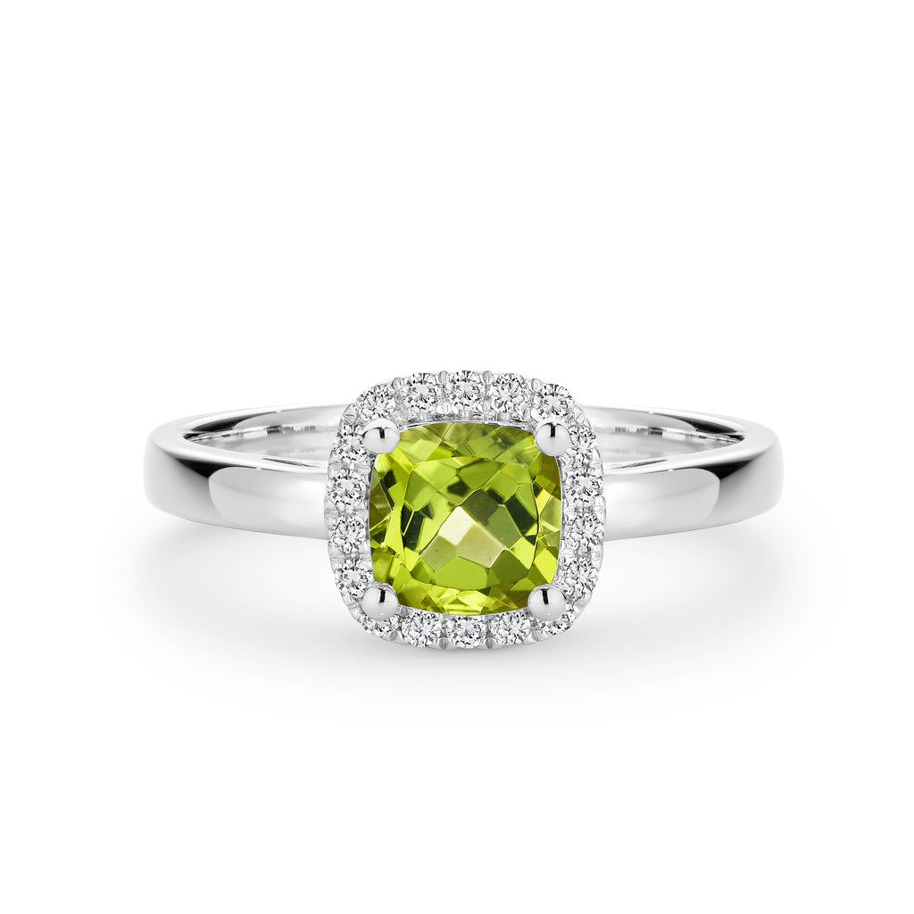 9CT White Gold Peridot and Diamond Ring