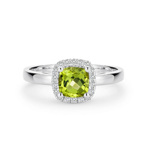 9CT White Gold Peridot and Diamond Ring - Duffs Jewellers