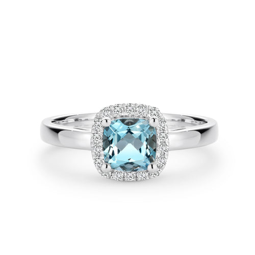 White gold Aquamarine and diamond ring - Duffs Jewellers