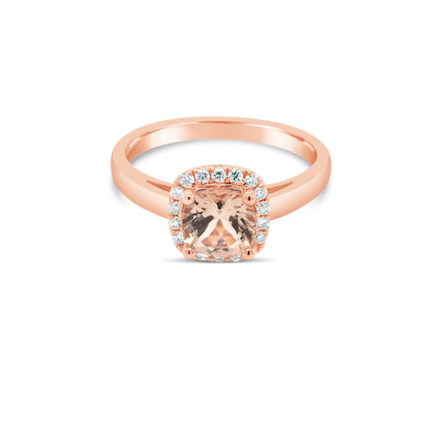 Rose gold morganite halo ring - Duffs Jewellers