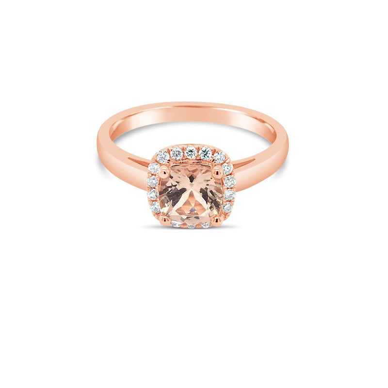 Rose gold morganite halo ring