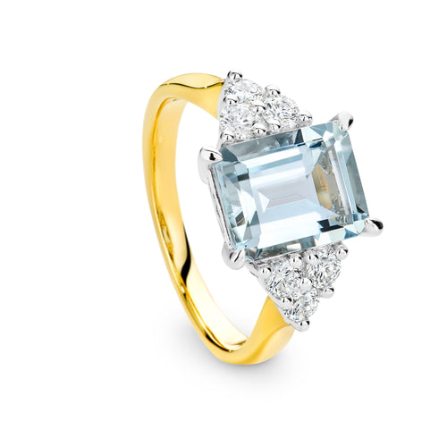2.70CT Aquamarine and Diamond Ring - Duffs Jewellers