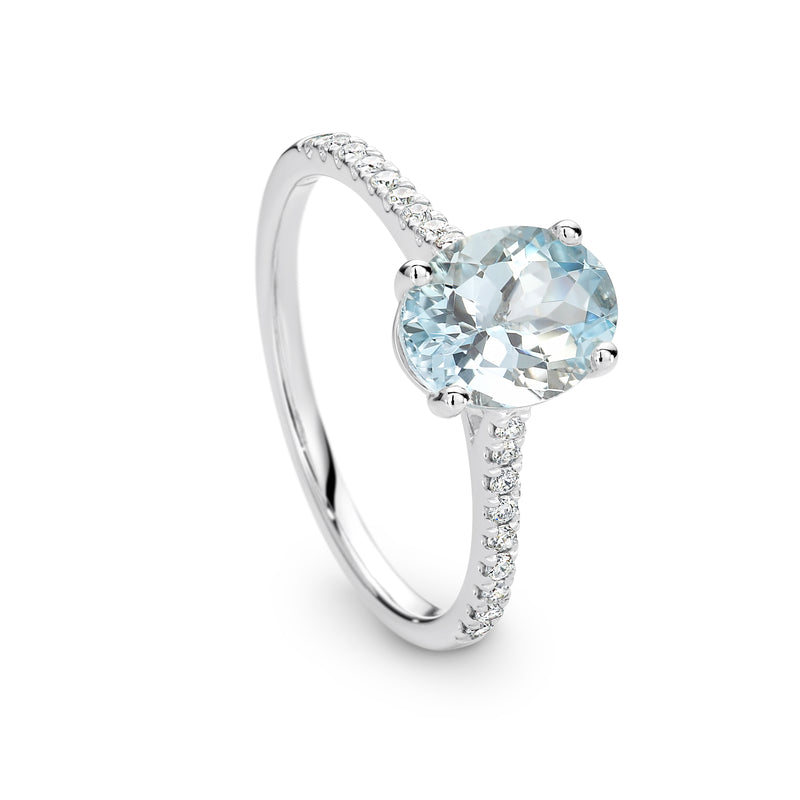 Oval Aquamarine and Diamond Ring - Duffs Jewellers