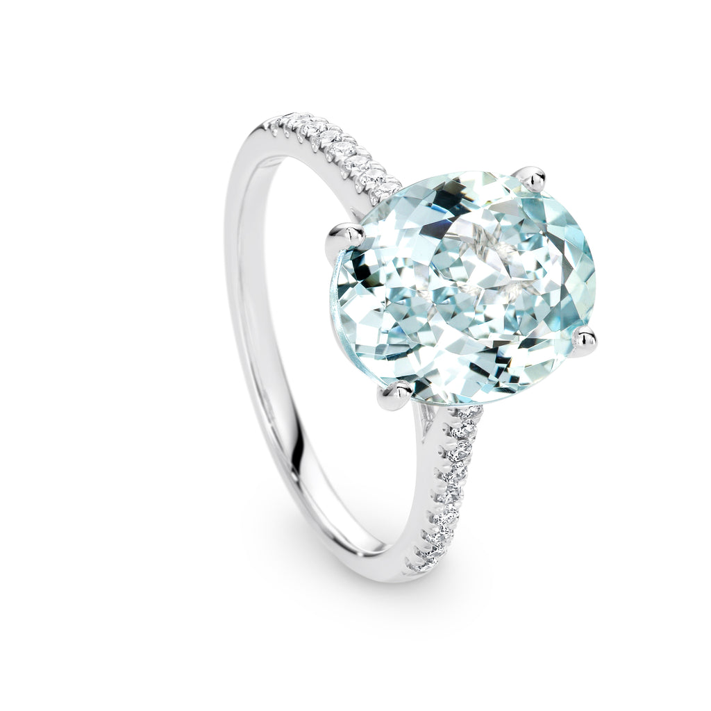 4.00Ct Aquamarine and Diamond Ring