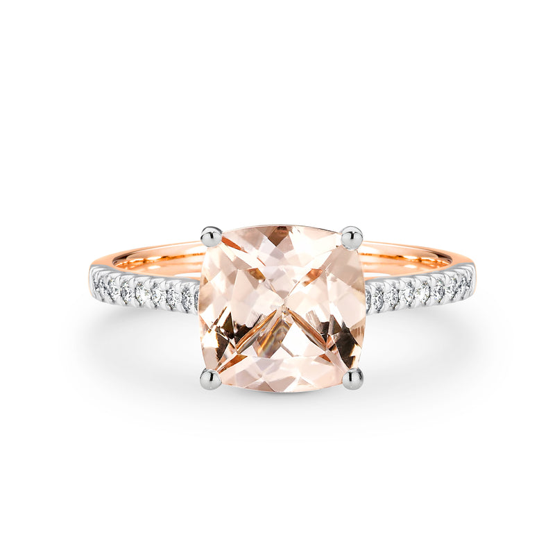 Cushion Cut Morganite and Diamond Ring - Duffs Jewellers