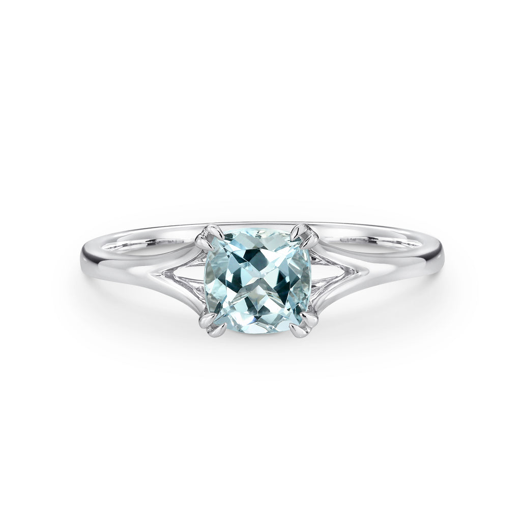 White Gold Cushion Cut Aquamarine Ring