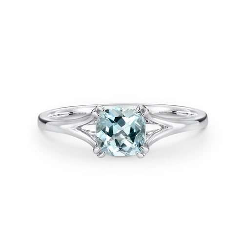 White Gold Cushion Cut Aquamarine Ring - Duffs Jewellers
