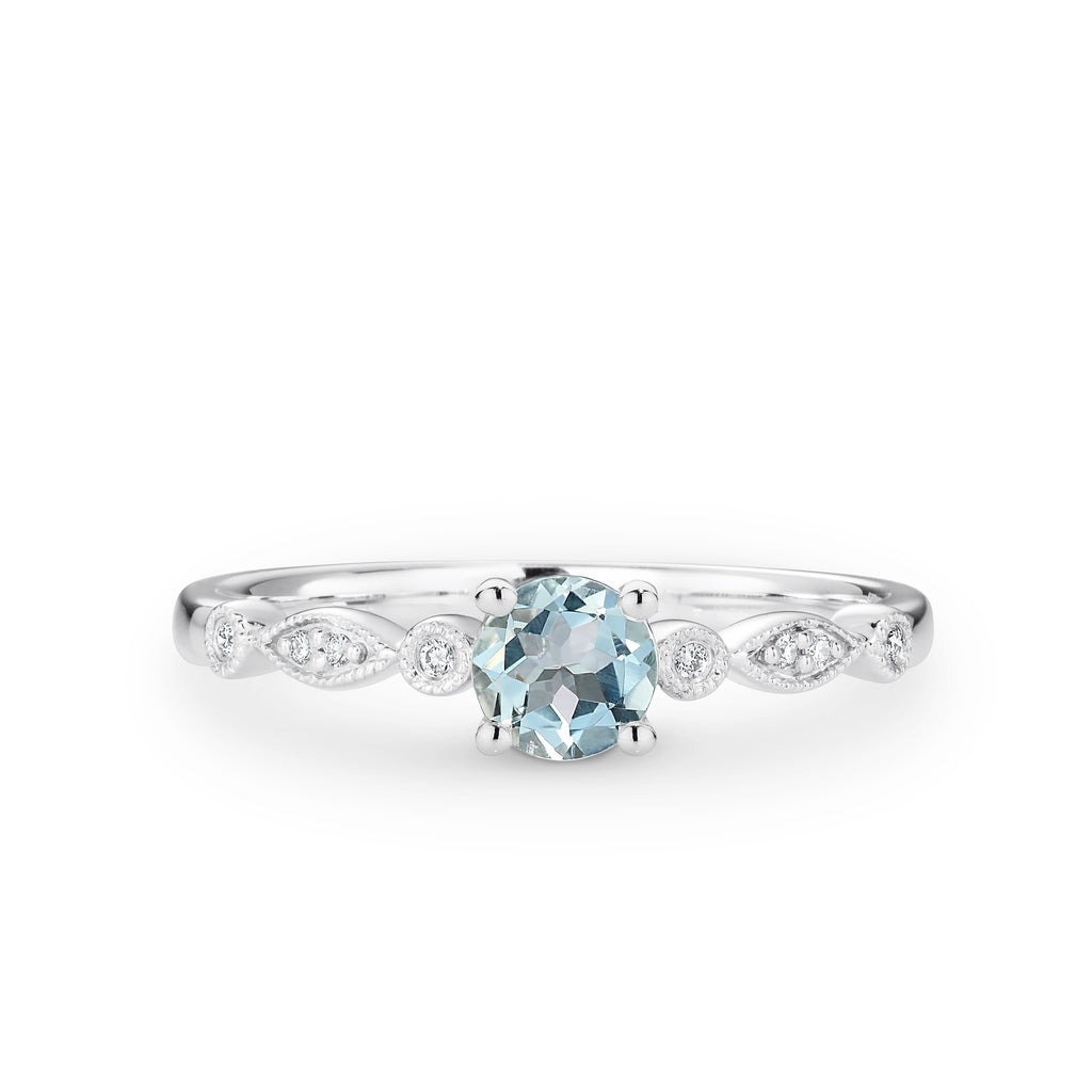 9ct White gold Aquamarine and Diamond ring with a total diamond weight of 0.03ct - Duffs Jewellers