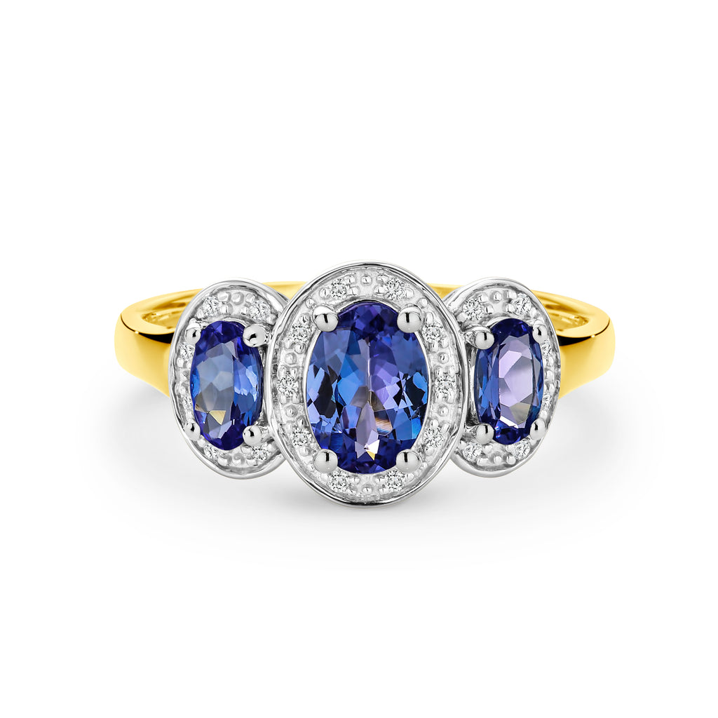 9CT Yellow Gold Tanzanite and Diamond Ring