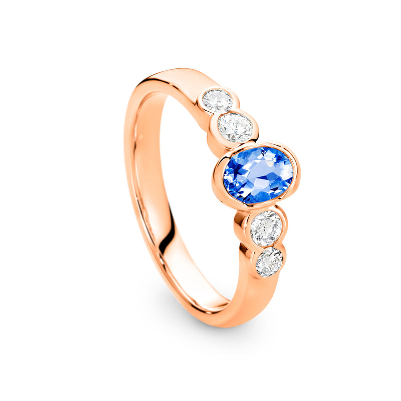 9CT Rose Gold Ceylon Sapphire and Diamond Ring - Duffs Jewellers