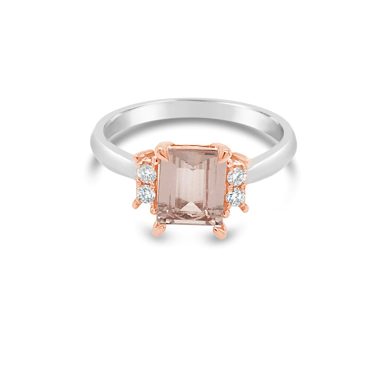 White & Rose gold Morganite & Diamond Ring