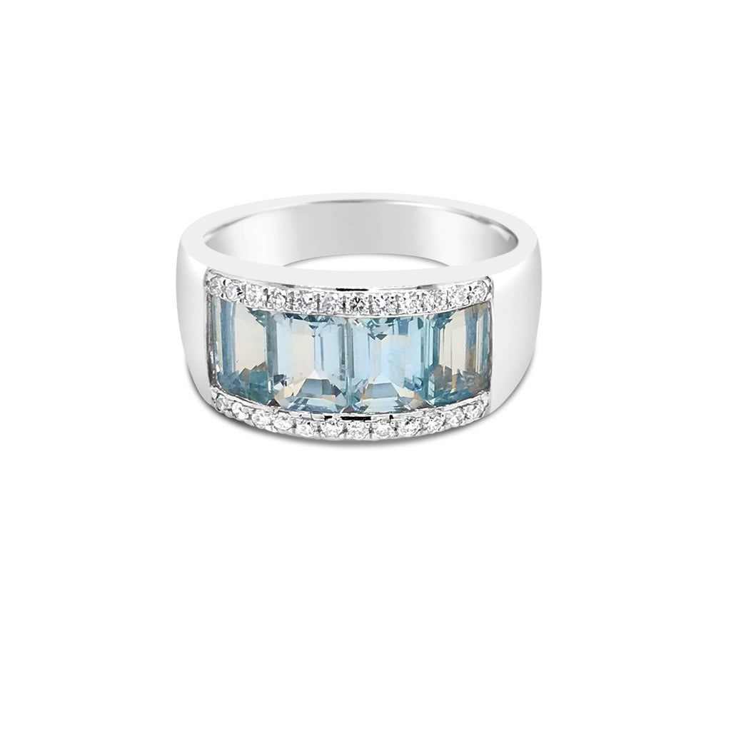 White gold aqua dress ring