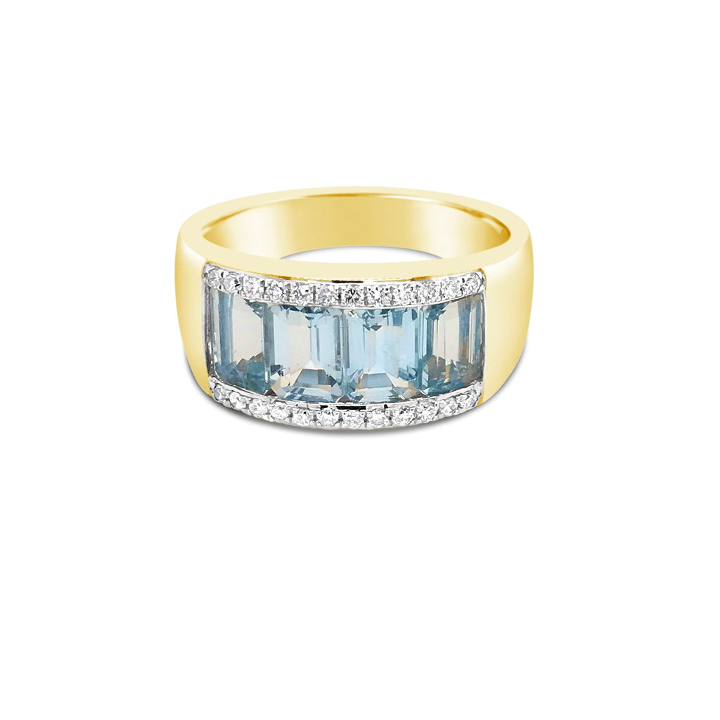Yellow gold aqua dress ring