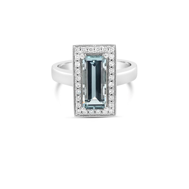White gold rectangular aquamarine ring - Duffs Jewellers