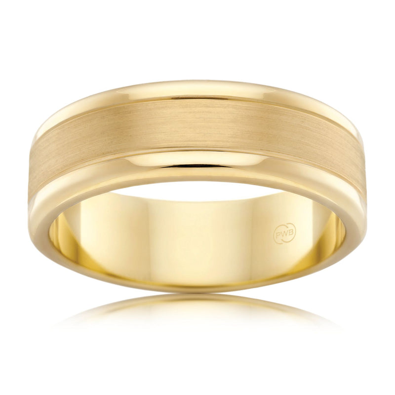 9ct Yellow Gold 7mm Faceted Wedding Ring - Duffs Jewellers
