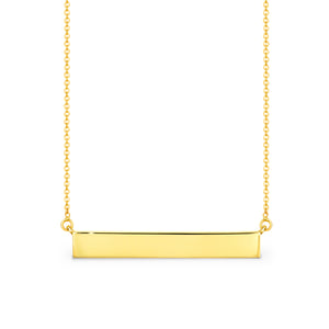 9ct Yellow gold bar pendant