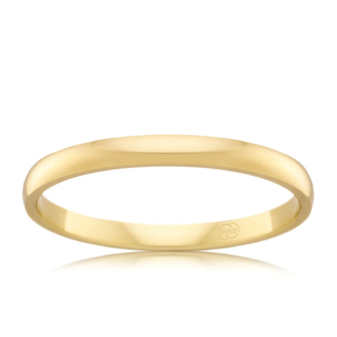 18ct Yellow Gold 2mm Wedding Ring