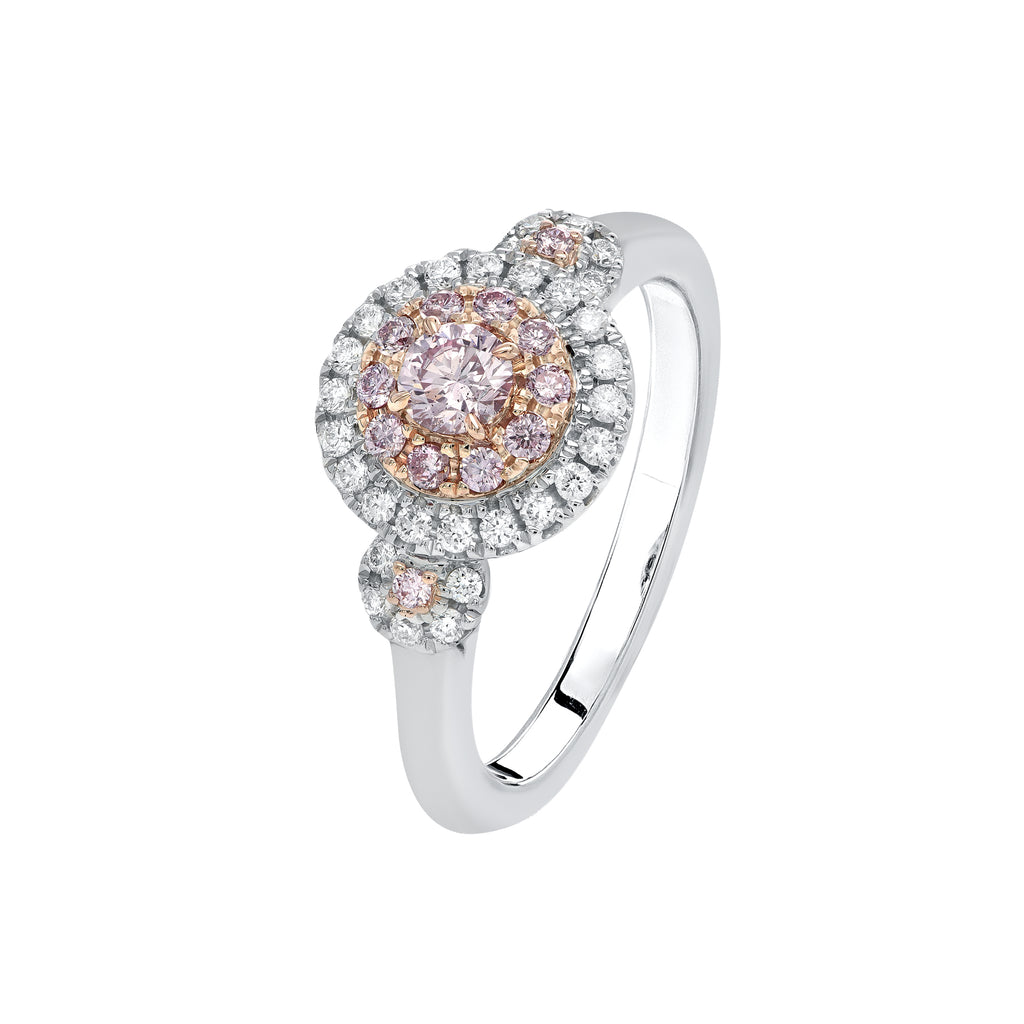 Argyle Pink diamond triple cluster ring 0.58ct