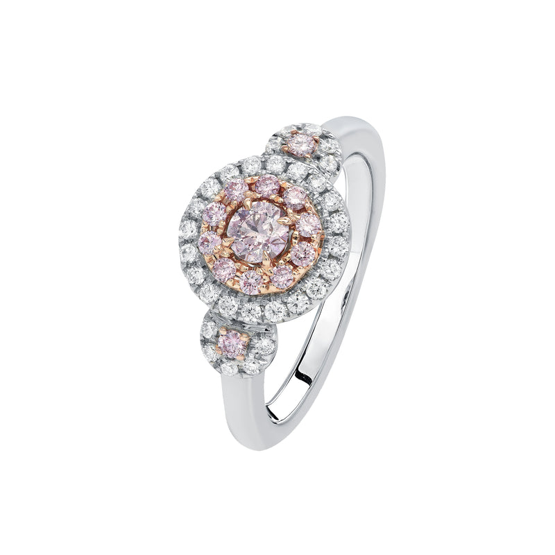 Argyle Pink diamond triple cluster ring 0.62ct TDW