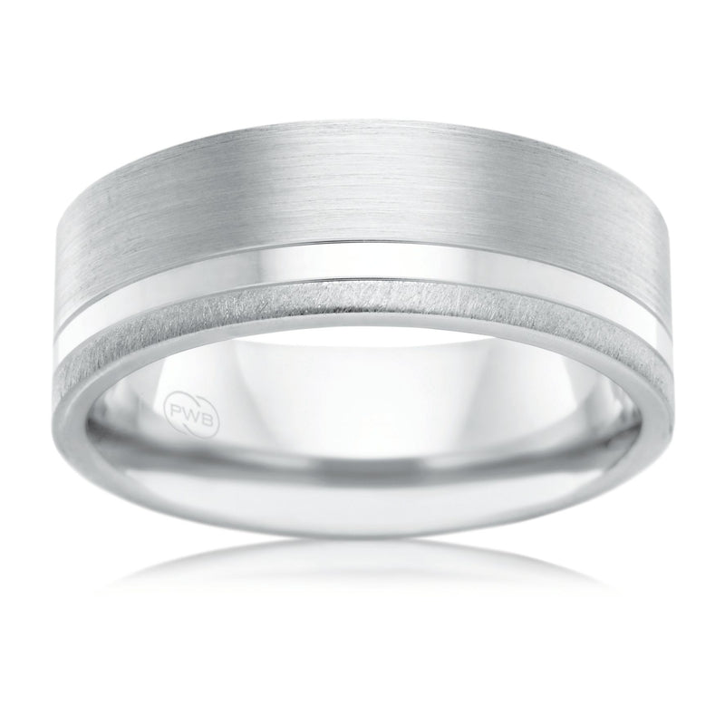 9ct White Gold 8mm Faceted Wedding Ring - Duffs Jewellers