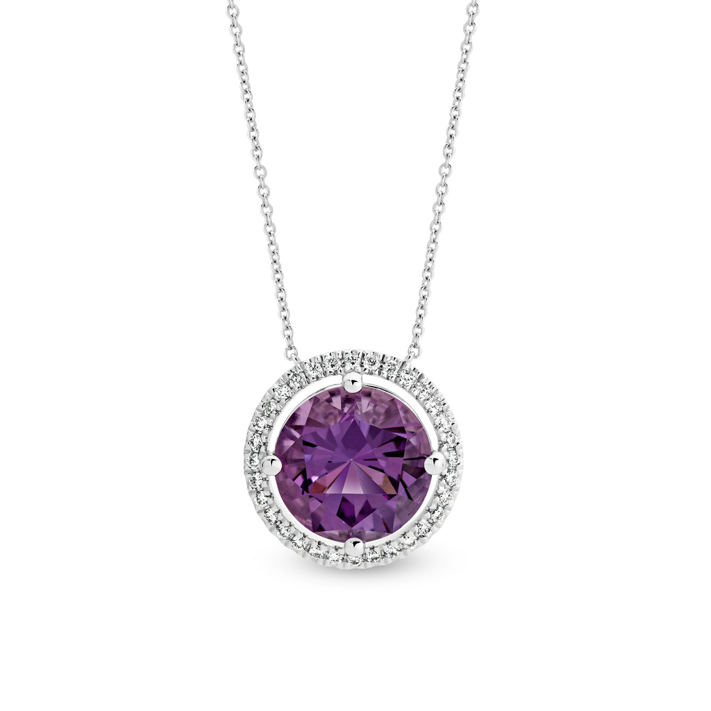 White Gold Brazilian Amethyst Pendant - Duffs Jewellers