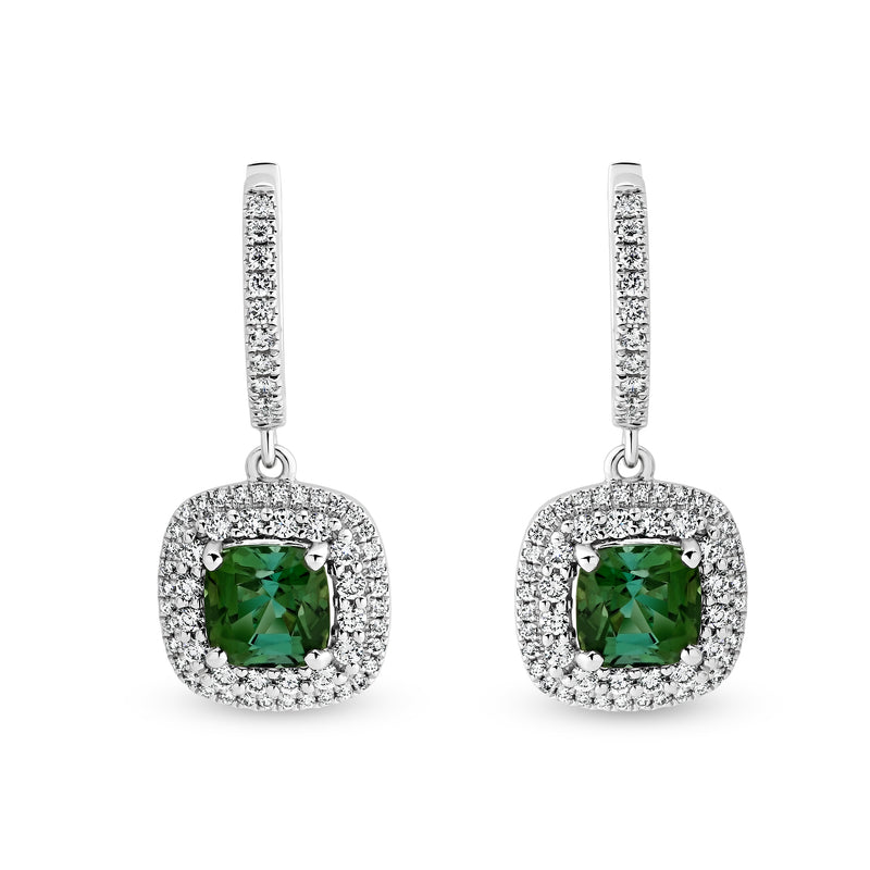 Cushion Cut Blue-Green Tourmaline Earrings - Duffs Jewellers