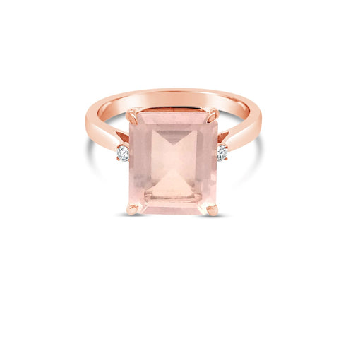 9ct Rose gold ring with Rose Quartz - Duffs Jewellers