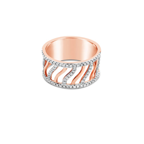 Rose gold open wave ring - Duffs Jewellers