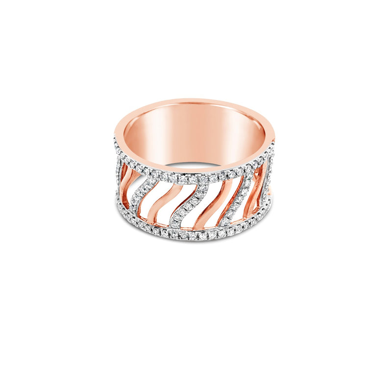 Rose gold open wave ring